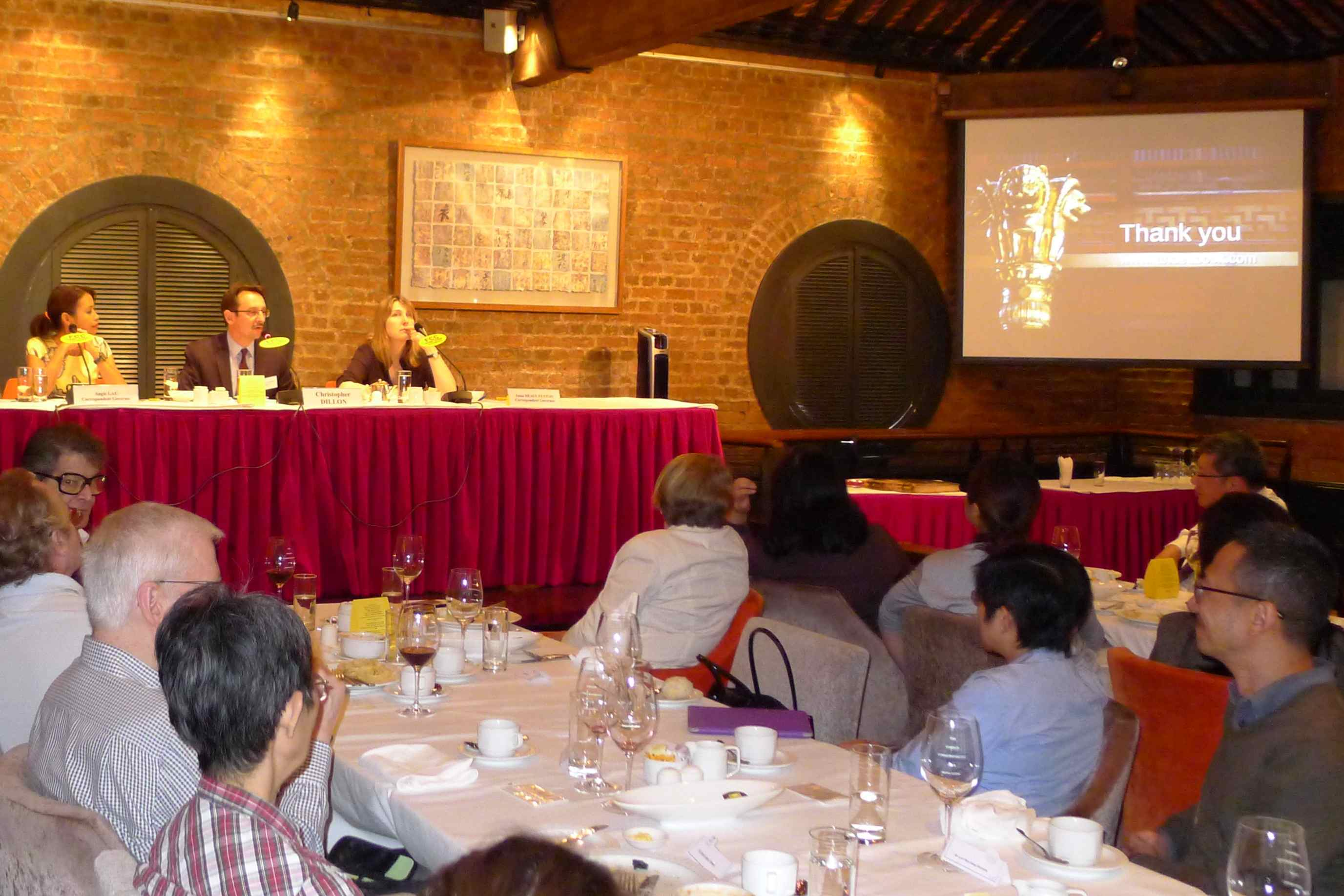 The launch of Landed China at the Foreign Correspondent's Club in Hong Kong