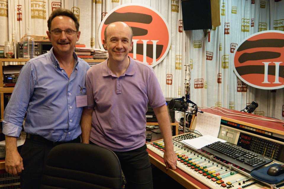 Christopher Dillon and James Ross at RTHK studios in Hong Kong