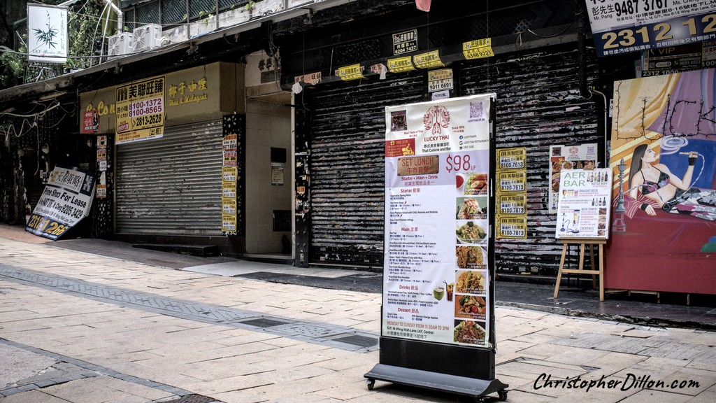 Empty bars in Lan Kwai Fong alley. Vacant commercial real estate
